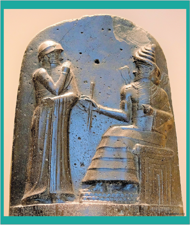 peradaban Hammurabi sedang menerima undang-undang dari dewa Marduk