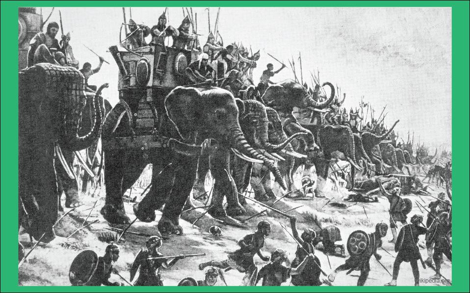 perang romawi di zama dengan pasukan gajah