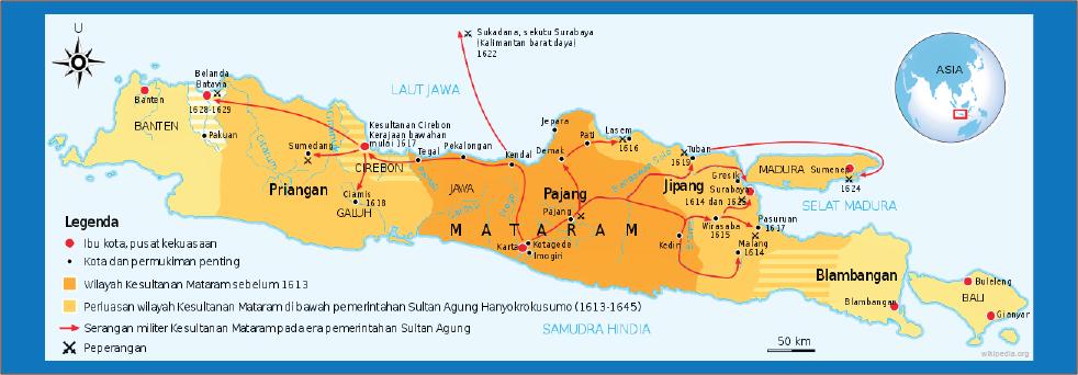peta wilayah kekuasaan kerajaan mataram