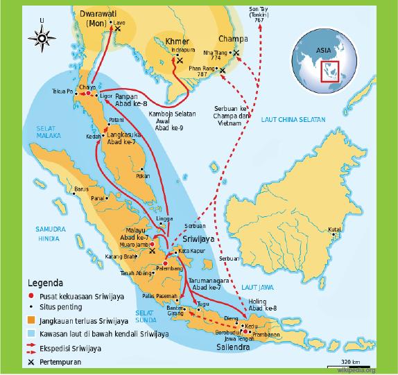 peta wilayah kekuasaan kerajaan sriwijaya